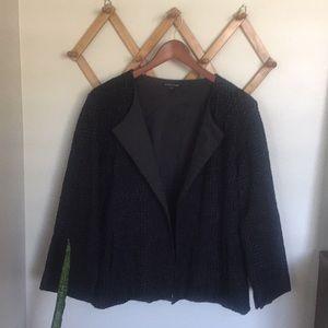 EILEEN FISHER Textured Cotton Box Cut Drape Jacket